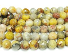 Crazy lace agate faceted round beads (8mm, 15.5 inches)