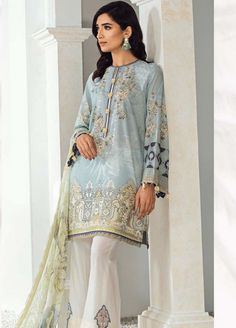 Fuchsia by Baroque Embroidered Lawn Unstitched 3 Piece Suit 03 MIRADE - Spring / Summer Collection Formal Pants Women, Pants For Women, Clothes For Women, Pakistani Dress Design, Pakistani Outfits, Kids Nightwear, Only Clothing, Lawn Suits, 3 Piece Suits