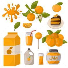 Ripe orange juice drink fruits realistic organic dessert vector illustration. Citrus natural vitamin fresh juice dessert sweet foo