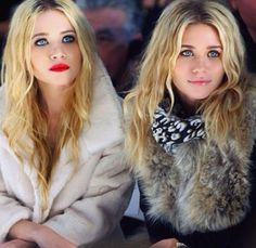 mary kate and ashley olsen // olsen twins // sisters // style inspiration // red lipstick // lips // fur