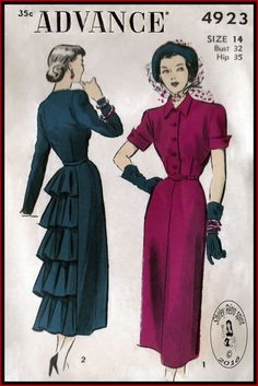 4923 Advance 4923 from 1948 - love the flounces and the short sleeve turn back cuffs!Advance 4923 from 1948 - love the flounces and the short sleeve turn back cuffs! 1940s Dresses, Vintage Dresses, Vintage Outfits, Vintage Clothing, Vintage Dress Patterns, Clothing Patterns, 1940s Fashion, Vintage Fashion, Club Fashion