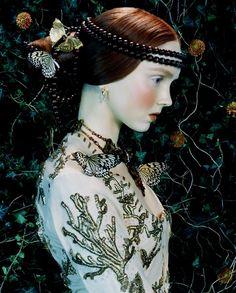 Model Lily Cole photographed by Koto Bolofo - a page out of Botticelli's La primavera.