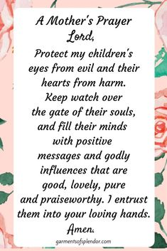 Prayers For Healing:Pray for your children's protection daily! Prayer For Our Children, Prayers For My Daughter, Prayer For My Family, Prayer For Mothers, My Children Quotes, Mom Prayers, Everyday Prayers, Bible Prayers, Quotes For Kids