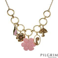 Contemporary Designer Jewelry / Beautiful Pilgrim necklace with Glass beads and simulated gems -- Great for spring time!