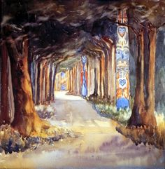 'Totem Walk at Sitka' / Emily Carr / Art Gallery of Greater Victoria / Tom Thomson, Canadian Painters, Canadian Artists, American Artists, Emily Carr Paintings, Great Paintings, Vancouver Art Gallery, Group Of Seven, Post Impressionism