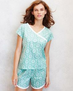 Asian Wrap Cap-Sleeve Pajamas