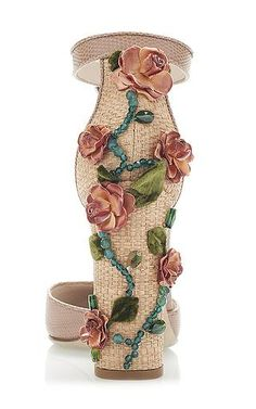 Rosa Printed Iguana and Raffia Floral Decal Heels by Dolce & Gabbana Now Available on Moda Operandi