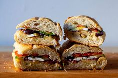 chickpea pan bagnat – smitten kitchen Pan Bagnat, Summer Recipes, Great Recipes, Favorite Recipes, Vegetable Pancakes, Cherry Tomato Salad, Marinated Cucumbers, Veggie Sandwich, Vegetarian Sandwiches