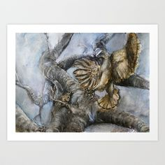 The Hawk and the Nightingale Art Print by Yousef Balat @ Hoop Snake Graphics LLC - $17.00