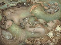 ♡  the soft green and facial expressions are beautiful  #magic #mermaid