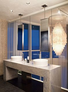A chandelier in the bathroom? Definitely if you're a sophisticated stylista!
