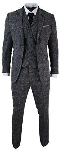 Mens-Tailored-Fit-3-Piece-Grey-Black-Herringbone-Tweed-Vintage-Retro-Formal-Suit