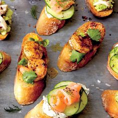 Crostini with Jerk Shrimp and Pineapple Chutney | MyRecipes.com