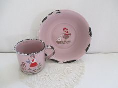 Vintage Child's Pink Enamelware Bowl and Cup  Girl by vintagenelly