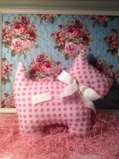 Pink Chenille Baby Girl Scottie Pillow It's a by ThePaintedCupcake, $36.00