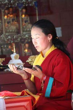 Rangjung Neljorma Khadro Namsel Drolma (Khadro-la). Extraordinary teacher, and oracle to His Holiness the Dalai Lama