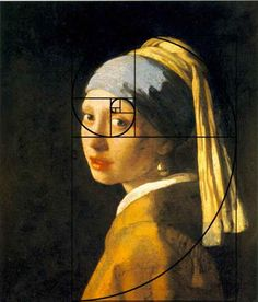 Golden ratio overlay illustrates the focus of the painting at the eye.   Girl With a Pearl Earring by Johannes Vermeer