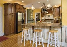 Yellow and brown country warm kitchen
