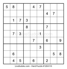 Hard Sudoku puzzle number This Sudoku is a bit more difficult than what people are used to solve. Use our tutorials to learn advanced Sudoku techniques to solve this one. Hard Puzzles, Sudoku Puzzles, Puzzles For Kids, Free Printable Puzzles, Wicked, Medium, Search Games, Fiction Novels, Lower Abs