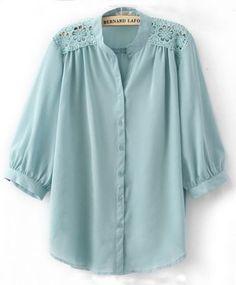 Light Blue Crochet Flower Shoulder Puff Sleeve Blouse pictures