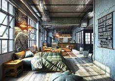 Studio Apartment Design & Decoration Ideas with The Advantages - #houseofvdm❤ #love #industrialdesign
