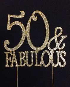 50 en fantastische Crystal Cake Toppers goud Bling 50e door Yacanna