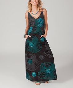 Look what I found on #zulily! Aller Simplement Black & Turquoise Medallion V-Neck Mxi Dress by Aller Simplement #zulilyfinds