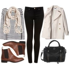 Business casual work outfit: black and white striped shirt, black skinny jeans, trench coat, brown booties, cream scarf. Look Fashion, Fashion Models, Womens Fashion, Lolita Fashion, Fashion Boots, Fall Winter Outfits, Autumn Winter Fashion, Autumn Casual, Winter Dresses