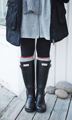 dress, leggings, sweater socks, hunters rain boots