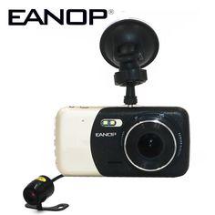 EANOP 4.0 Inch Car DVR Camera Dual Lens Car DVR Dashcam with ADAS Rear View Camera Support Car Distanace 1080P Full HD