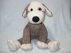 Sock Monkey Puppy Dog Vintage Nelson Red Heel Socks by LaliDolls