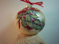 Holly Ornament, Red Berries, Hand-Painted Glass Ornament, Gold Satin Bulb, 3 1/4 inches. $18.00, via Etsy.