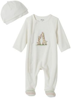Little Me Layette Footie, Giraffe, Ivory