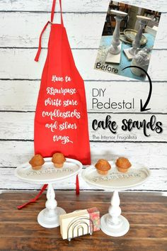 DIY Pedestal Cake Stands - How to REpurpose thrift store candlesticks and silver trays into Pedestal Cake Stands with French flair | The Interior Frugalista