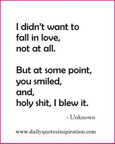 Cute Funny Love Quotes: I didn't want to fall in love, not at all. But at some point, you smiled, and, holy shit, I blew it.  www.dailyquotesinspiration.com