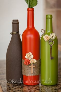 Brighten up a room by adding a colorful collection of handcrafted wine bottles.