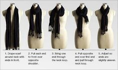 Scarves are slowly becoming my new favorite accessory.  Here's a quick tutorial on how to tie the longer ones.