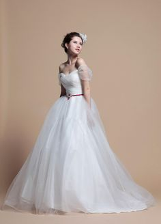 Off Shoulder Princess Full A-Line Wedding Dress  A-line/Princess, Floor Length, Natural, Sweep/Brush Train, Off Shoulder, Sleeveless, Beading, Ruffles, Sashes/Ribbon, Lace-Up, Tulle, Beach/Destination, Garden/Outdoor, Spring, Summer,