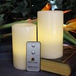 LED Lytes Real Wax Battery Operated Flameless Pillar Candles And On/Off Remote ~ Set Of 2 – 3 Inches x 5 Inches ~ Ivory Colored Wax With A Soft Pale Yellow Flame ~ Weddings, Parties, Mother's Day Flameless Candles, Votive Candles, Christmas Holidays, Christmas Decorations, Wedding Decorations, Table Decorations, Church Candles, Thing 1, Just Because Gifts