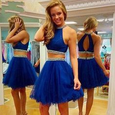 2016 Most Popular 2 Pieces Homecoming Dress, Royal Blue Homecoming Dress, Beading Homecoming Dress, Halter Short prom Dress