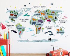 Kinderzimmerdekoration - Blaue Weltkarte als Wandtattoo (68 x 110 cm) - ein Designerstück von TinyFoxes bei DaWanda