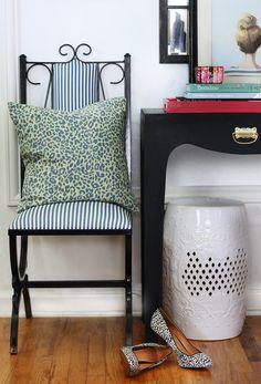 Vintage Chair | Stripes | Leopard Pillow