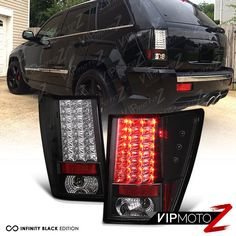 2007-2010 JEEP GRAND CHEROKEE [BRIGHTEST] BLACK LED SMD REAR BRAKE TAIL LIGHT WK #VIPMOTOZ Lifted Jeep Cherokee, 2007 Jeep Grand Cherokee, Jeep Wk, Jeep Srt8, Jeep Cars, Hot Rides, Tail Light, Led, Biscuits