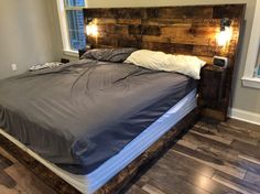 Every Rustic Headboard is carefully hand crafted from specially picked reclaimed wood. This is a unique custom furniture piece used as a headboard, Distressed Headboard, Rustic Wood Headboard, Modern Headboard, Rustic Headboards, Distressed Wood, Custom Headboard, Modern Bedroom, Queen Size Headboard, Queen Headboard