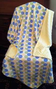 Yellow Minky Baby Blanket  Blue Sage Green by DesignsByDiBlankets, $45.00