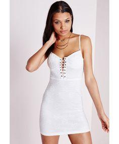 Lace Up Mini Dress White - Dresses - Mini Dresses - Missguided
