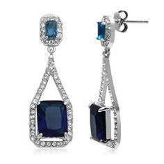 Jewelili Fine Earring with Montana Glass & Clear Crystal in Sterling Silver available at joyfulcrown.com