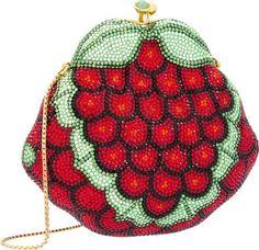 Judith Leiber Grapes Minaudière Evening Bag Gold Red Green CrystalsVintage #JudithLeiberlieberDesignerCouture #EveningBagClutchShoulderCrossbodyShoulderBag