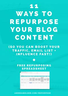 11 Ways To Repurpose Facebook Marketing, Online Marketing, Entrepreneur, Content Marketing Strategy, Business Tips, Online Business, Creative Business, Blogger Tips, Blogging For Beginners