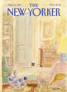 1983 Jean-Jacques Sempé Art Crowded Apartment Living Room Cat New Yorker Cover